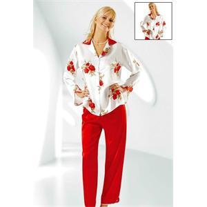 Kırmızı-Beyaz Çiçek Desenli Pijama Takımı