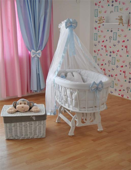 172802-Bebekonfor Bersava Beyaz Beşik Mavi lilyum -Bebe Konfor - Bebek Beşikleri ve Organik Beşik İmalatı