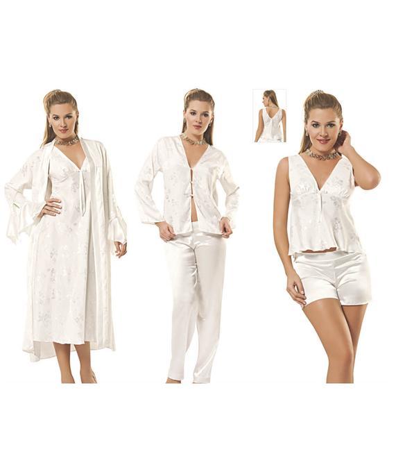 15726-Beyaz Saten Gecelik Çeyiz Seti-Moongirl - MineNaz Tekstil