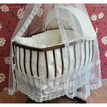 12116-Lux Dantelli Ceviz Beşik-Bebe Konfor - Bebek Beşikleri ve Organik Beşik İmalatı