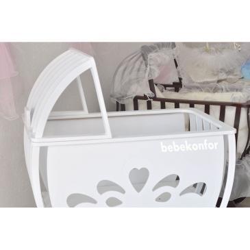 12119-amla Krem Tekerlekli Ahşap Boş Bebek Beşiği-Bebe Konfor - Bebek Beşikleri ve Organik Beşik İmalatı