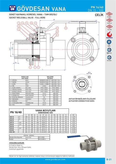 213497-PN 16/40 Socket Welded Ball Valve-Steel-GOVDESAN MAKINA Elektronik Ins. Tur. Nakl. San. ve Tic. Ltd. Sti.