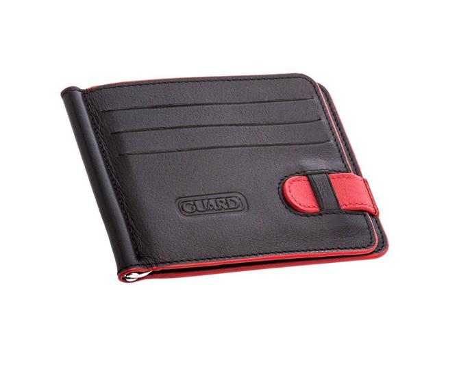 43040-Guard red black leather card holder-Ozozler Deri