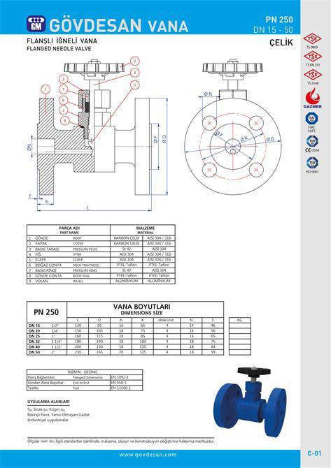 213498-PN 250 Flanged Needle Valve with Steel-GOVDESAN MAKINA Elektronik Ins. Tur. Nakl. San. ve Tic. Ltd. Sti.