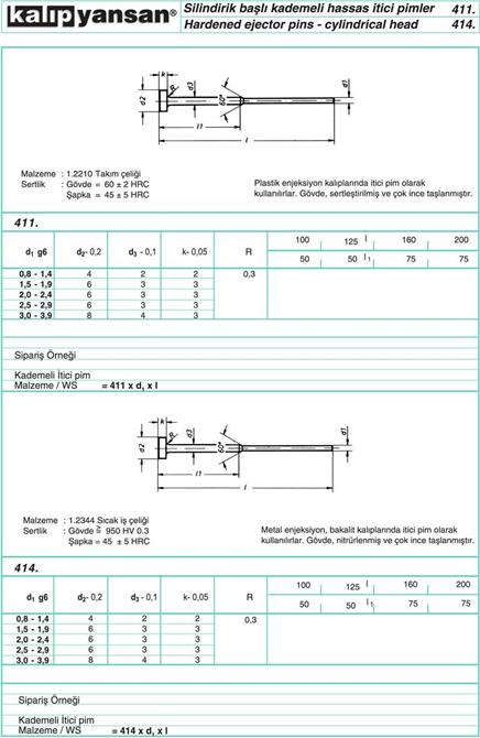 214938-Cylindrical Head Pins Precision Clamps DIN 1530-KALIPYANSAN Standart Kalip Elemanlari San. ve Tic. Ltd. Sti.