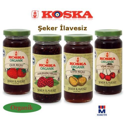 35704-Koska organic cherry, strawberry, apricot, raspberry jam 300g glass jars 4-Marketim