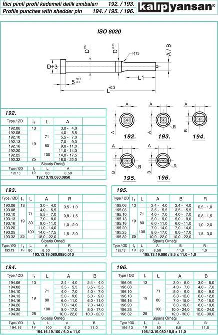 214948-Step Holder Punches with Pusher Pin Profile-KALIPYANSAN Standart Kalip Elemanlari San. ve Tic. Ltd. Sti.