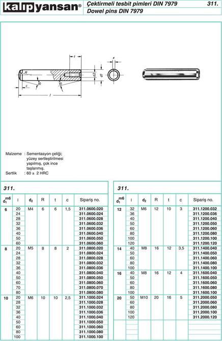 214944-Drawbar Pin DIN 7979-KALIPYANSAN Standart Kalip Elemanlari San. ve Tic. Ltd. Sti.