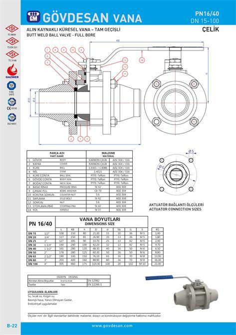 213496-PN 16/40 Butt Welded Ball Valve-Steel-GOVDESAN MAKINA Elektronik Ins. Tur. Nakl. San. ve Tic. Ltd. Sti.