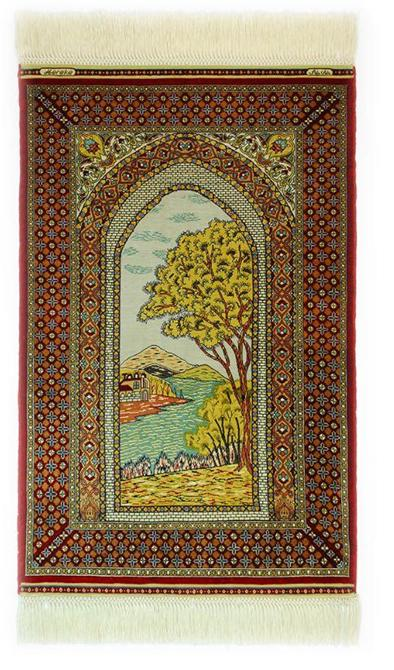 1889-Landscape Patterned Silk Carpet-Han Hali