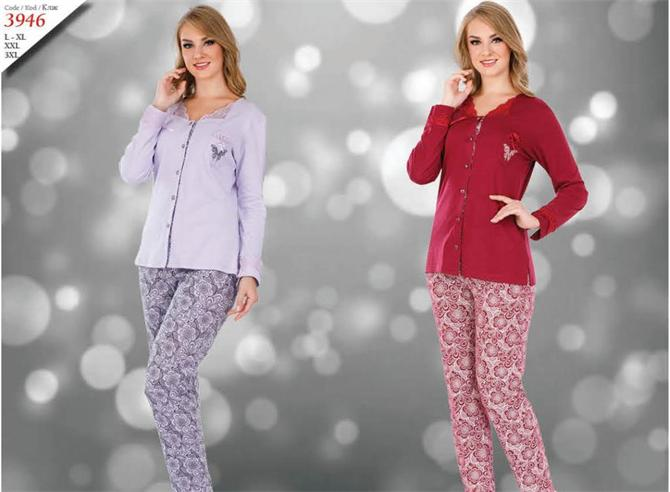 215287-Women's Buttoned Pajamas Set-Kozaluks Tekstil San. ve Tic. Ltd. Sti.