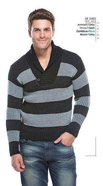 30595-Wk403 (* p) wide striped shawl collar sweater-Wise - Celikler Giyim San. Tic. Ltd. Sti.