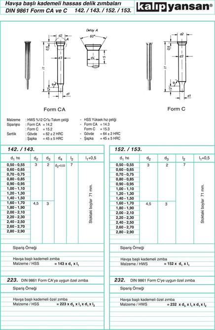 214946-Countersunk Head Gradual Precision Hole Staples DIN 9861-KALIPYANSAN Standart Kalip Elemanlari San. ve Tic. Ltd. Sti.