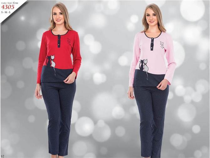 215295-Cat Patterned Women's Pajamas-Kozaluks Tekstil San. ve Tic. Ltd. Sti.
