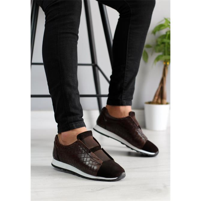 247696-MEN'S GENUINE LEATHER BROWN SNEAKERS-BİANCO OSSİ