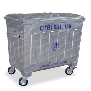 205855-660 lt. Hot Dipped Galvanized Conical Waste Container-Yuksel Metal Makine Insaat Nakliyat San. ve Tic. Ltd. Sti.