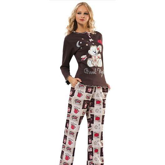 c13ac4b79415 16280-Brown-purple teddy bear patterned ladies pajama sets-Fm Tekstil  Sanayi ve