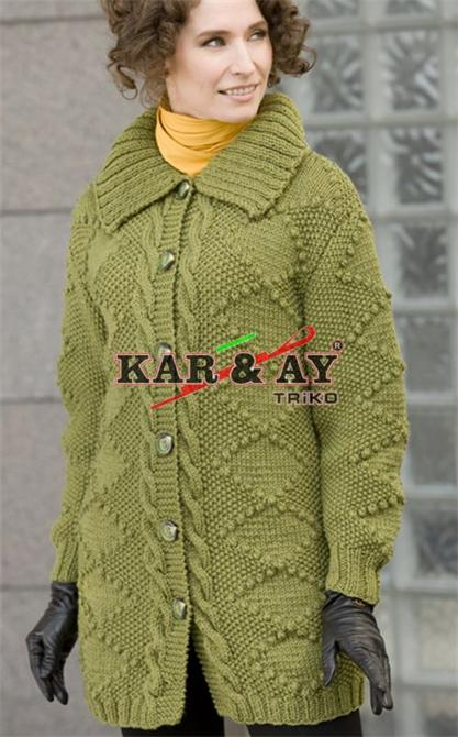 199892-Green Woman Cardigan-Karay Triko Tekstil San. Tic. Ltd. Sti.