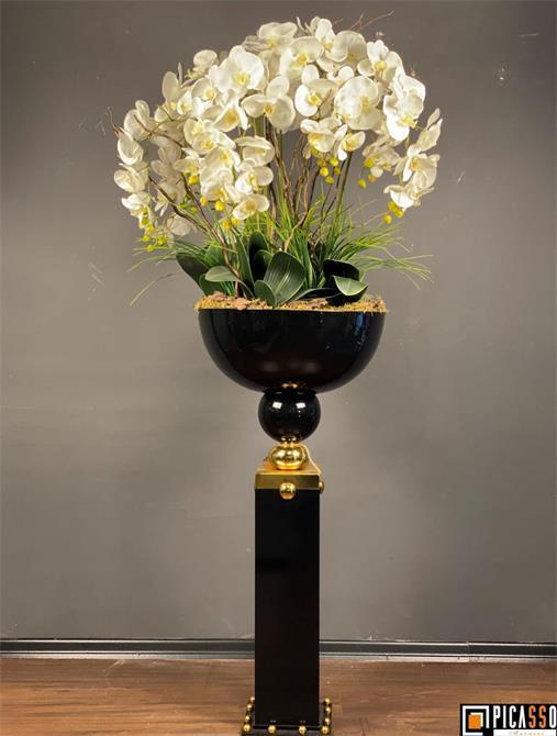 241446-ARY-015SA MARA COLUMN FLOWER 51X51X100 CM 990 TL CREAM GOLD BLACK GOLD BLACK SILVER-Picasso Marnero