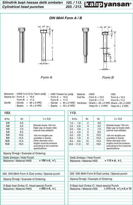 214949-Precision Hole Staples with Cylindrical Head DIN 9844-KALIPYANSAN Standart Kalip Elemanlari San. ve Tic. Ltd. Sti.