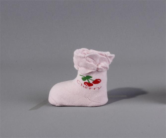 55776-UCS cherry patterned frilly baby socks şekerpemb-UCS - Ulas Corap Tekstil San. Tic. Ltd. Sti.