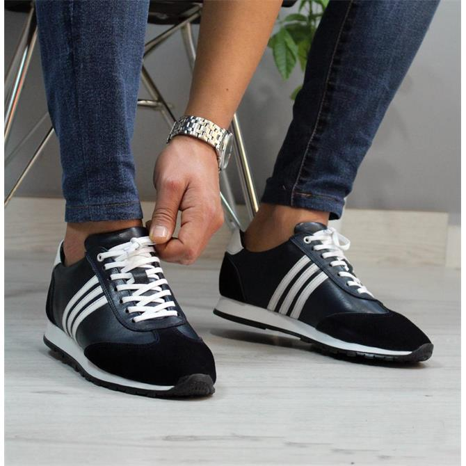 247513-MEN'S GENUINE LEATHER NAVY BLUE SNEAKERS-BİANCO OSSİ