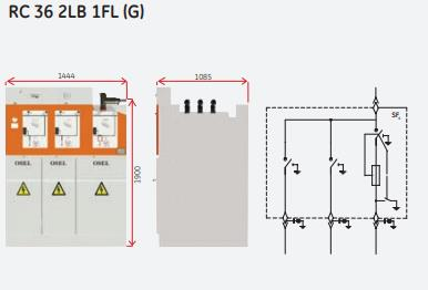 230264-RMU, 2 Incoming-Outgoing Module with Load Break Switches and 1 Transformer Protection Module with Load Break Switch-Fuse Combination (Extensible)-EKOSinerji