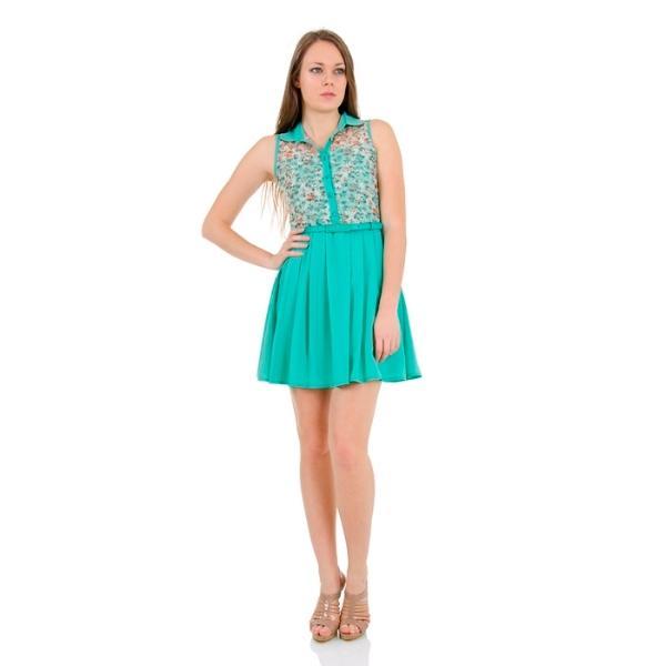 36755-Green belted mini dress-By Gulay - Gulay Tekstil Ins. Mad. Turz. Tic. San. Ltd. Sti.