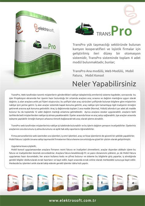 34288-Lojistik Firmaları için Geliştirilmiş Otomasyon Sistemi - Transpro-Elektrosoft Bilişim Sistem Yazılım ve Otomasyon San. Tic. Ltd. Şti.