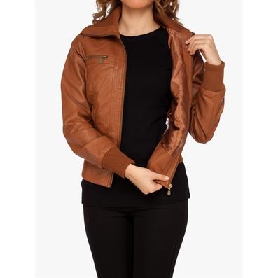 12688-Brown leather ladies jacket-Cemsey Tekstil Ltd. Sti.