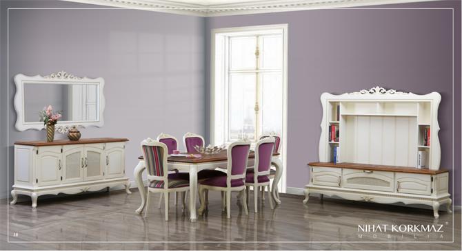 240013-LOYA WHITE DINING ROOM SET-MOBS FURNİTURE