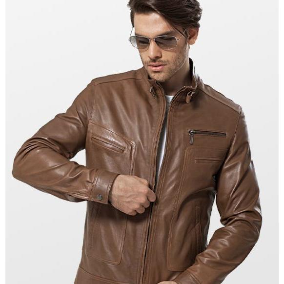 7171-Brown leather belt men's jacket collar-Ulashan Tekstil