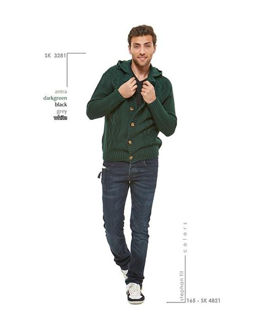 70601-Green Hooded Cardigan-Wise - Celikler Giyim San. Tic. Ltd. Sti.