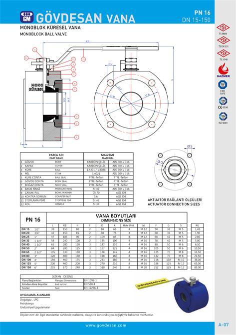 213478-PN 16 Monoblock Ball Valve-GOVDESAN MAKINA Elektronik Ins. Tur. Nakl. San. ve Tic. Ltd. Sti.