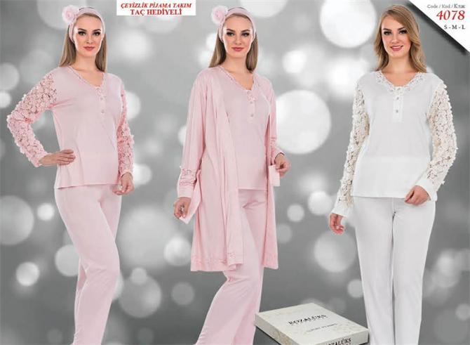 215290-Dowry Crowned Pajama Set-Kozaluks Tekstil San. ve Tic. Ltd. Sti.