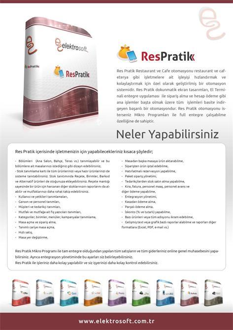 34292-Restaurant ve Cafe Otomasyonu - Res Pratik-Elektrosoft Bilişim Sistem Yazılım ve Otomasyon San. Tic. Ltd. Şti.