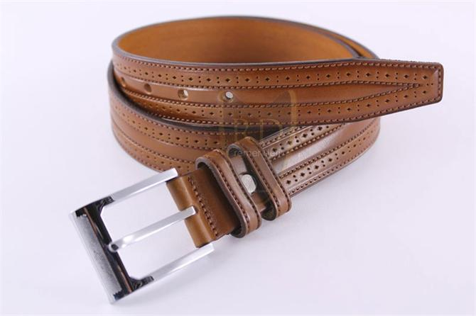 219766-Perforated Brown Mens Belt-Kemerist Deri Urunleri Sanayi ve Dis Ticaret Limited Sirketi