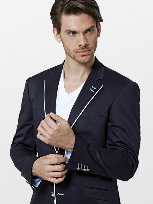 32a1c9d7a0238 Siyah Beyaz Kesim Erkek Ceketi - ürününü globalpiyasa.com da satın alın