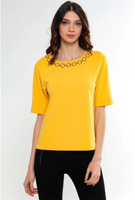 222176-Yellow Short Sleeve T-Shirt-Fella Tekstil San. Tic. Ltd. Sti