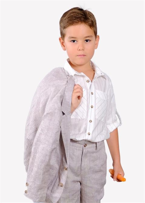 223549-Boys Linen Blazer Jacket-Ozmoz Tekstil San. Ltd. Sti.