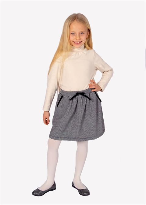 223557-Girls' Skirt with Crowbar Pattern-Ozmoz Tekstil San. Ltd. Sti.