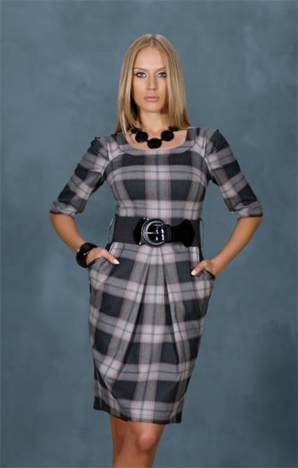 d76145fc0d23e 36761-Gri Kareli Kışlık Bayan Elbisesi-Oben Tekstil ve Giyim San. ve Tic