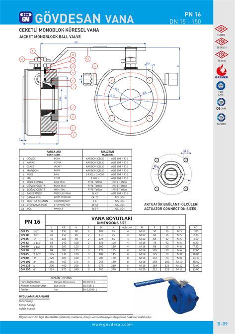 213486-PN 16 Jacketed Monoblock Ball Valve-GOVDESAN MAKINA Elektronik Ins. Tur. Nakl. San. ve Tic. Ltd. Sti.