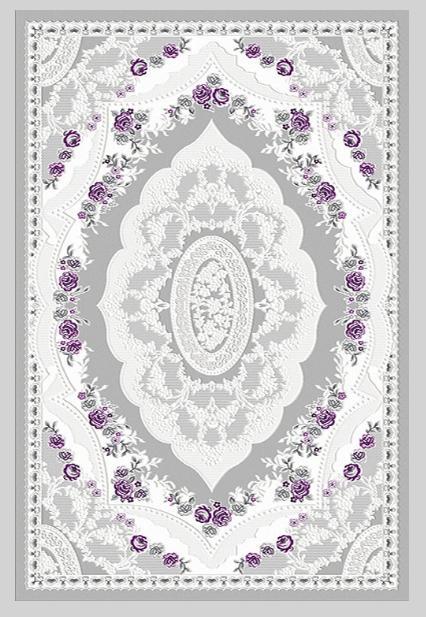 204947-Patterned Carpet with Gray Purple Flowers-Naz Carpet - Birimoglu Hali Tekstil San. ve Tic. Ltd. Sti.