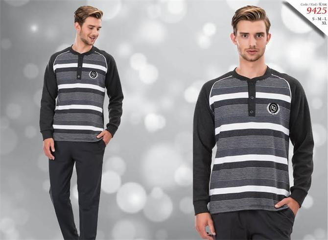 215326-Men's Tracksuit Set - Button Detailed 9425-Kozaluks Tekstil San. ve Tic. Ltd. Sti.