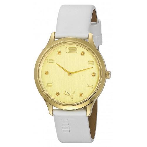 10417-Puma Beyaz Deri Kayışlı Saat-Aşcı Saatçilik Tic. ve San. Ltd. Şti.
