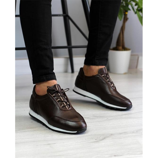 247653-MEN'S GENUINE LEATHER BROWN SNEAKERS-BİANCO OSSİ