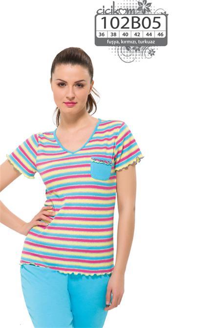 e6a70f5c6 15793-Blue-pink striped pajama sets women-Cicikom - CCK Tekstil Urunleri San