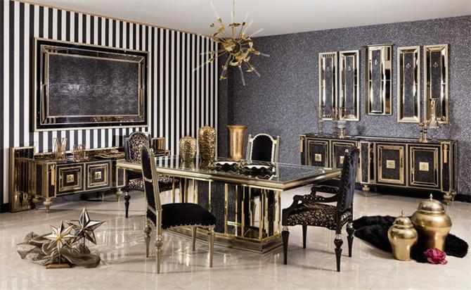 Vidal Luxury Dining Room Set, Luxury Living Room Set