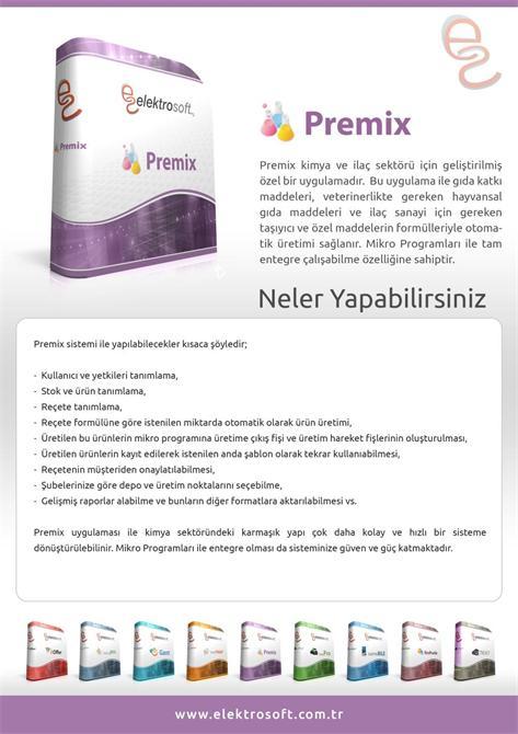 34296-Kimya ve İlaç Sektörü İçin Geliştirilmiş Uygulama - Premix-Elektrosoft Bilişim Sistem Yazılım ve Otomasyon San. Tic. Ltd. Şti.